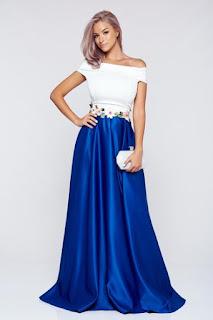 Rochie Artista albastra din material satinat cu insertii de broderie1