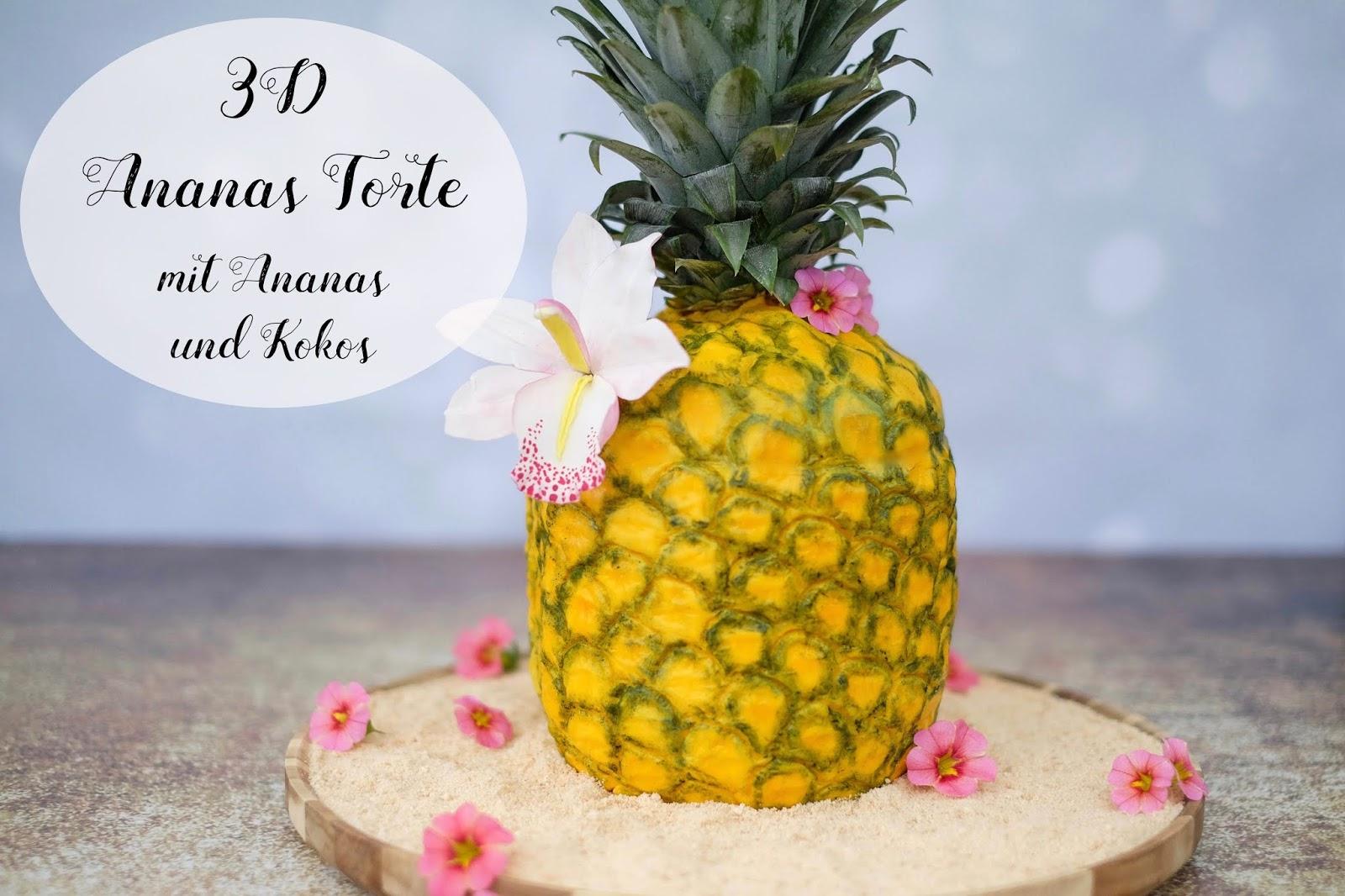 3d ananas torte mit ananas und kokos marion 39 s kaffeeklatsch. Black Bedroom Furniture Sets. Home Design Ideas