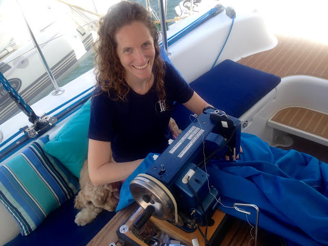 Sailrite sewing machine on a Lagoon 380 sail catamaran