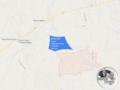 PETA Desa Mekarsari, Kecamatan Cikaum