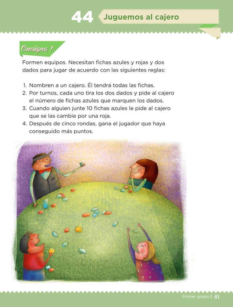 Libro de textoDesafíos MatemáticosJuguemos al cajeroPrimer gradoContestado