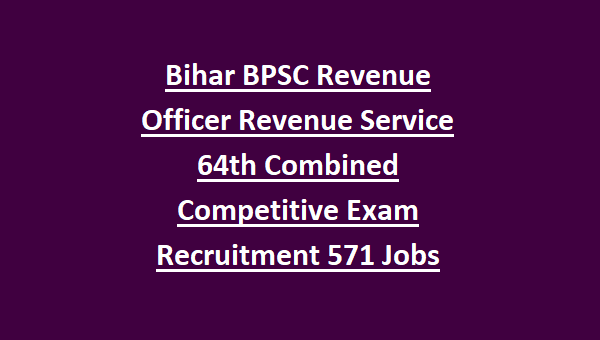 Bihar BPSC Revenue Officer Revenue Service 64th Combined