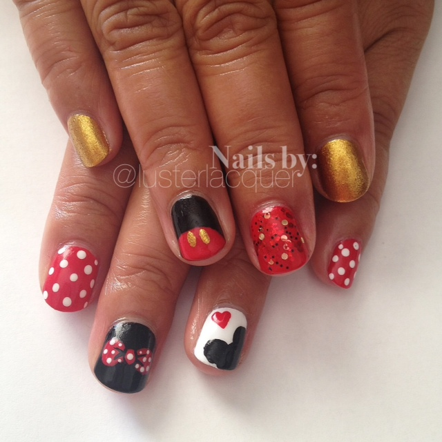 Minnie Mouse Nails: Luster Lacquer: Mickey & Minnie Mouse Nails