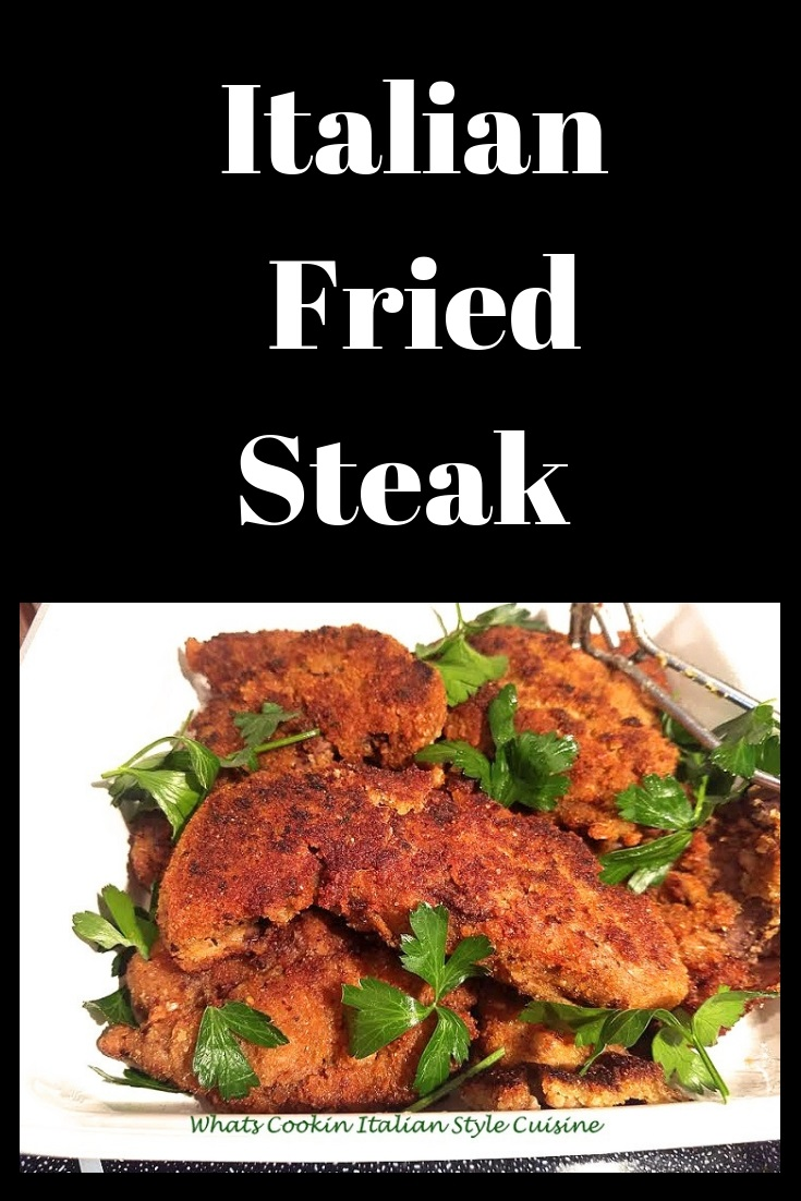 This is a steak coated with breading and fried with delicious Italian spices with parsley garnished on top in a white dish