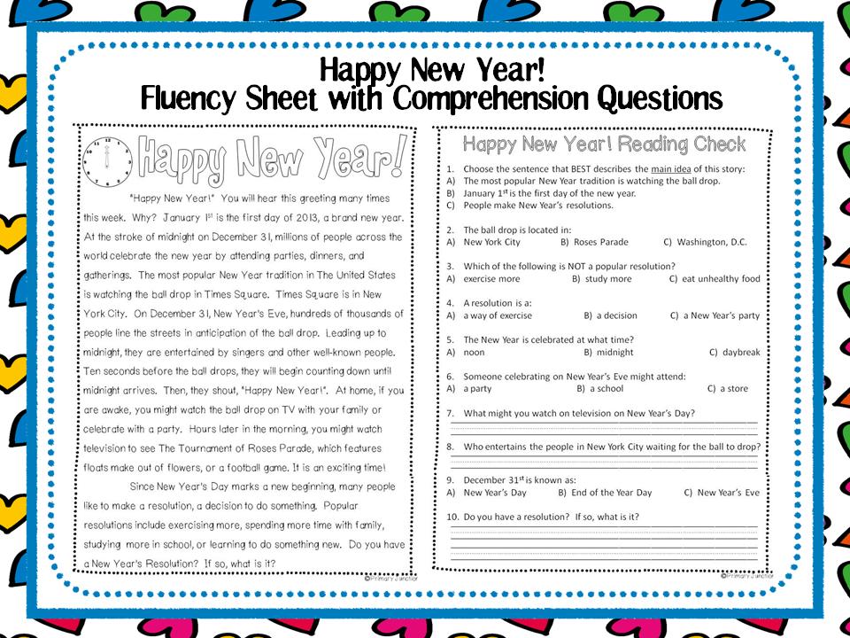 Classroom Freebies: Happy New Year! Fluency Sheet with ...