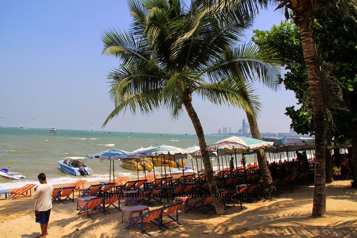 Pattaya Beach that filled with deck chairs, Thailand