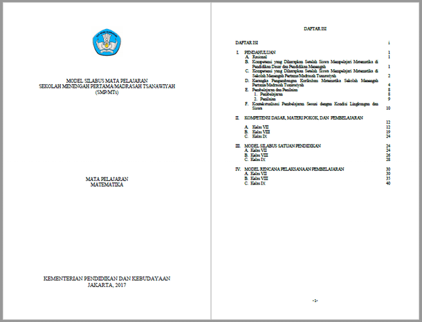 Silabus RPP Matematika SMP MTs Kurikulum 2013 Kelas VII, VIII, IX