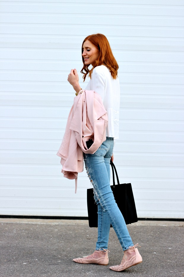 Spring pastels, denim, blush trench, blush lace up flats