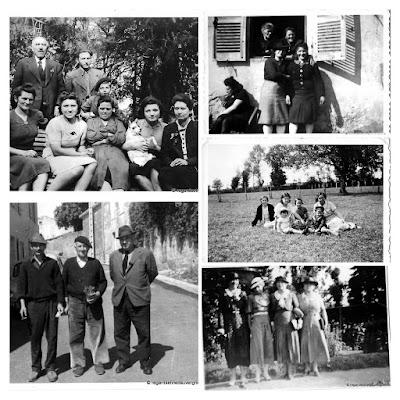 Album photos anciennes noir et blanc : groupes trois et plus