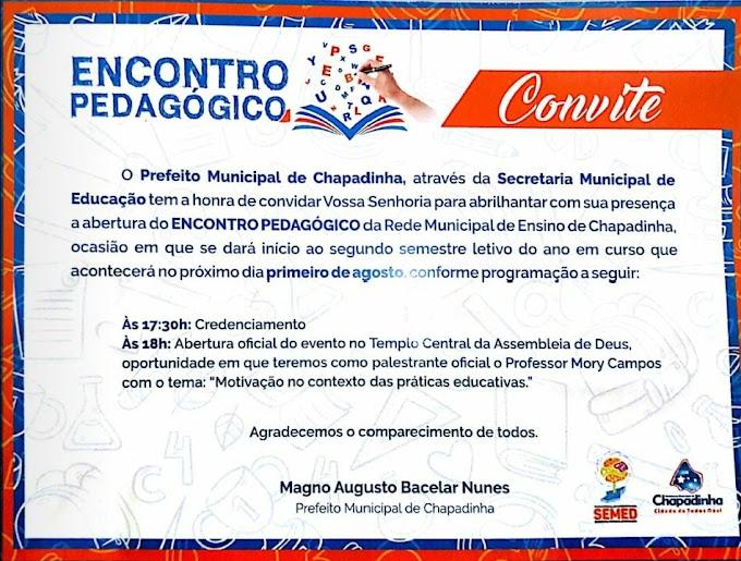 Secretaria de Educação realizará encontro pedagógico em Chapadinha