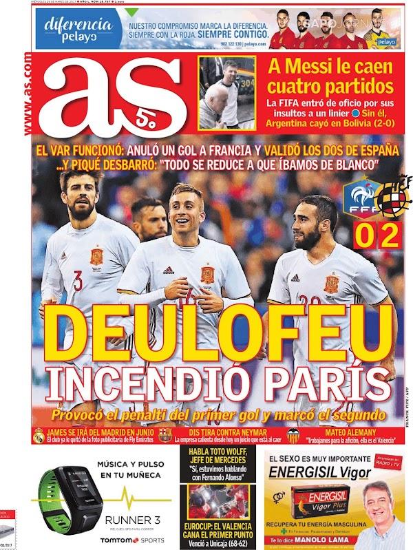 "España, AS: ""Deulofeu incendió París"""