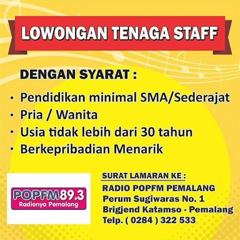 Lowongan Kerja di Pop FM