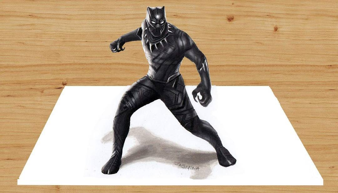 03-3D-Marvel-s-Black-Panther-Jasmina-Susak-Superheroes-and-Villains-in-2d-and-3d-Drawings-www-designstack-co