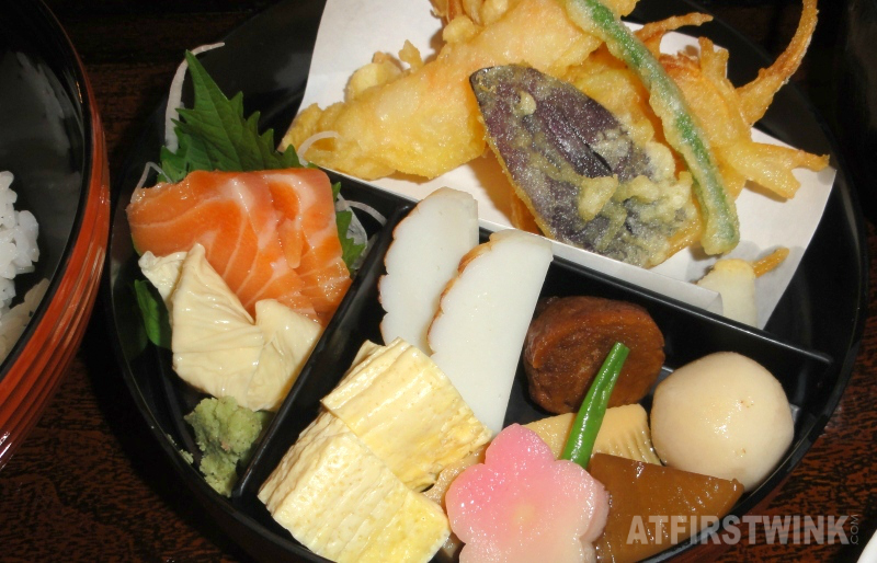 Kyoto lunch tempura sashimi fish cake simmered vegetables tofu skin