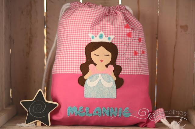 Bolsa de merienda princesa rosa
