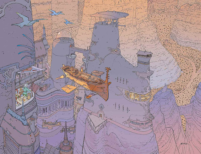a Mobeus birdseye view of a canyon city and flying boat