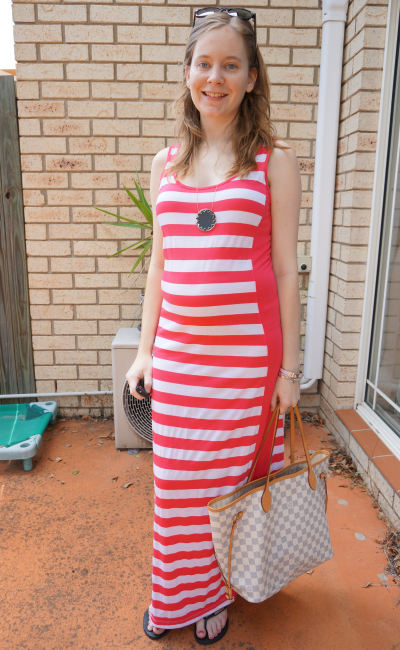 three dots striped maxi dress second trimester baby bump non maternity dress