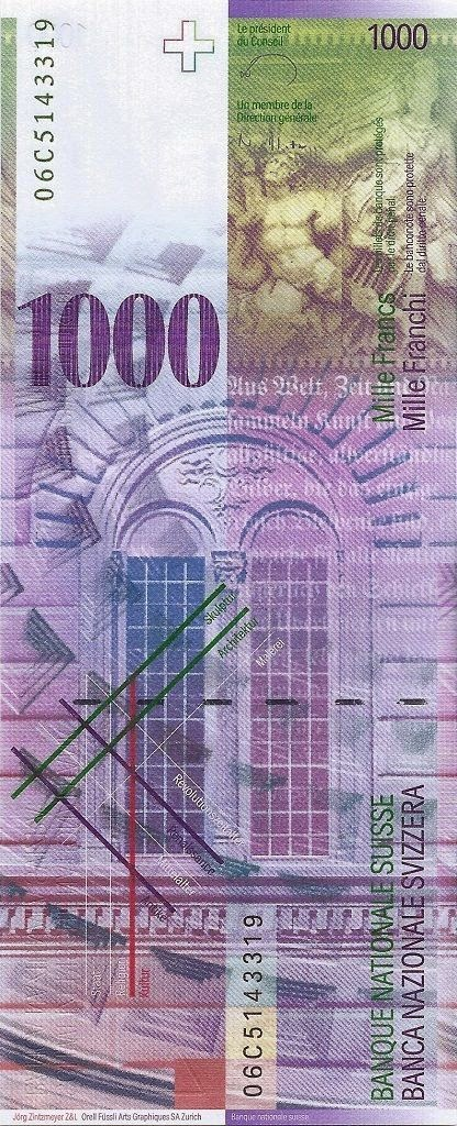 Switzerland Banknotes Currency 1000 Swiss Francs