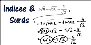SURDS AND INDICES NOTE WITH SOLVED EXAMPLE AND SHORTCUT FORMULAS