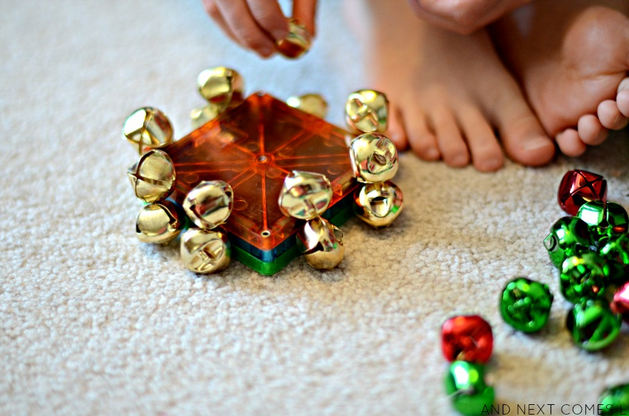 Toddler and preschool Christmas science using Magna-Tiles and jingle bells from And Next Comes L