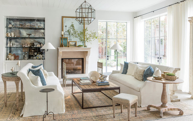 Beautiful modern farmhouse style living room (Giannetti Home) inspiration on Hello Lovely Studio
