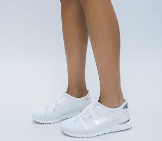 Pantofi Sport Hercul Albi cu insertii argintii