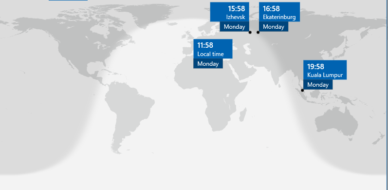 Reviews of blah windows 10 system apps review alarms clock the world clock shows a lovely representation of the world map in grey along with a cool indication of what areas are in daynight at the current time gumiabroncs Images