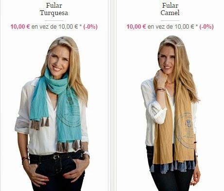 Detalle de los fulares solidarios en venta, en color turquesa o camel