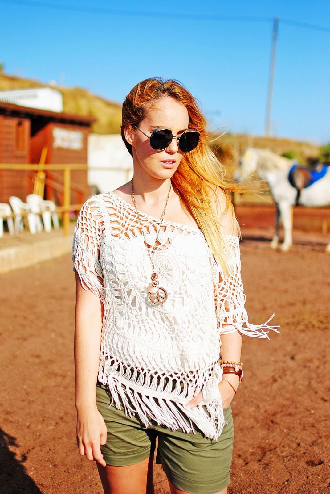 #CyATenerife, ganchillo, nery hdez, look sport, crochet , 80spurple, peace necklace