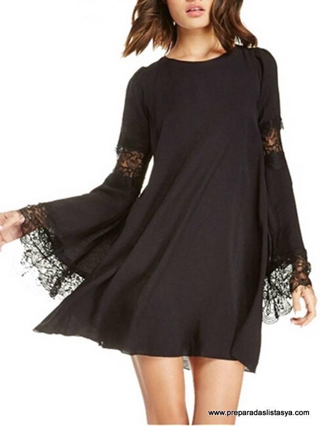 Vestido negro encaje Newchic