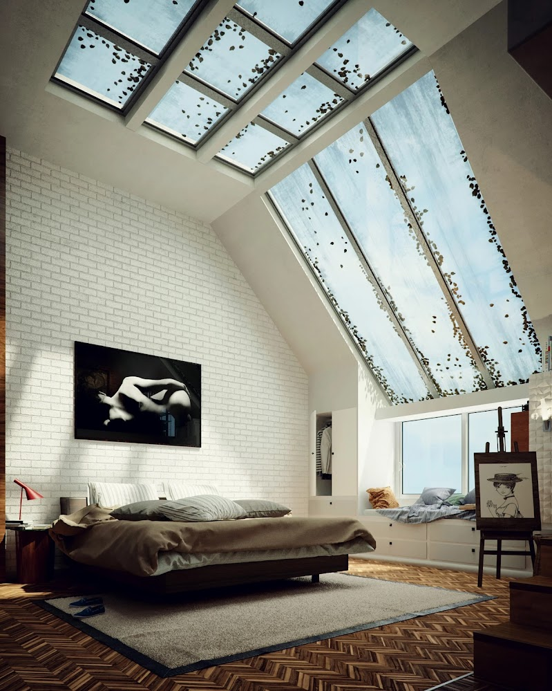 wide-skylight-bedroom-with-exposed-brick