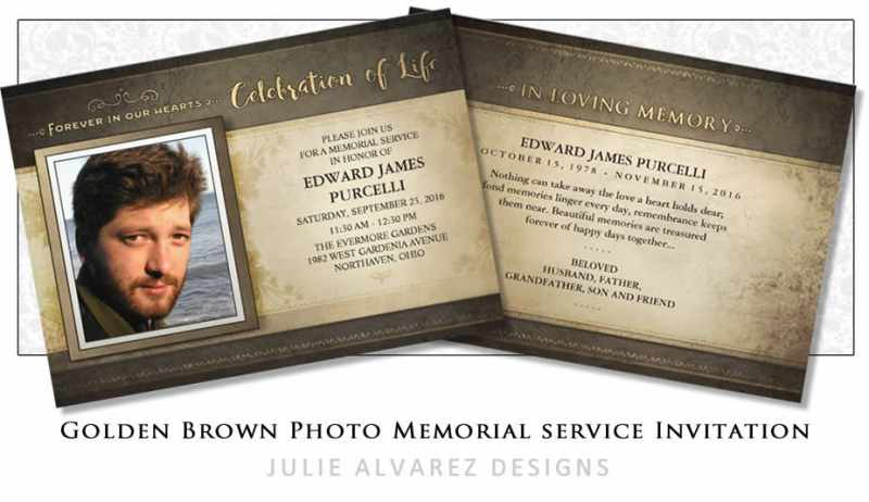 celebration of life golden brown service invitation for man