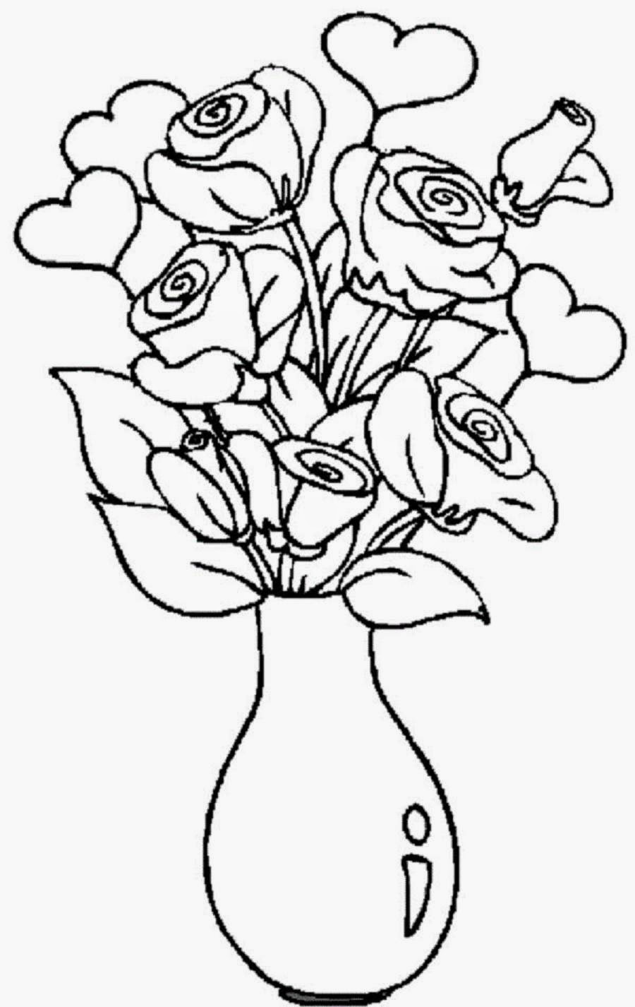 colours drawing wallpaper: Beautiful And Lovely Vase ... | colouring pages flowers in a vase