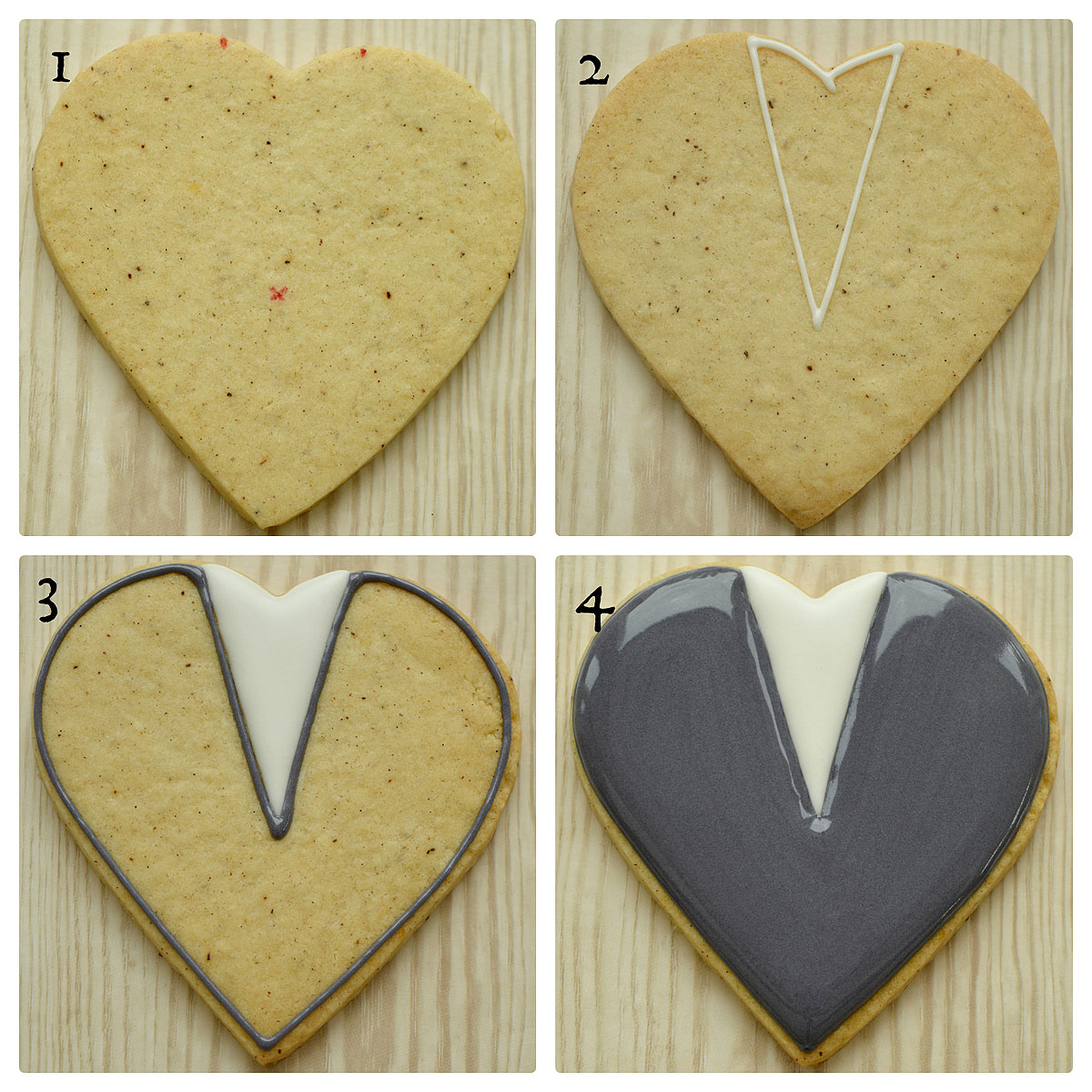 Collage of first four steps in decorating a groom on a heart wedding decorated cookie, by Honeycat Cookies