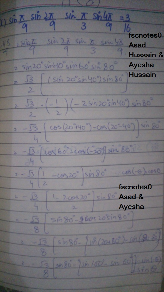 FSc ICS FA Notes Math Part 1 Chapter 10 Trigonometric Identities Exercise 10.4 Question 5 written by: Asad Hussain & Ayesha Hussain 2