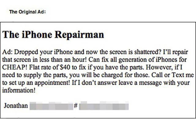 Fantastic Trolling Of An iPhone Repairman (4 pics)