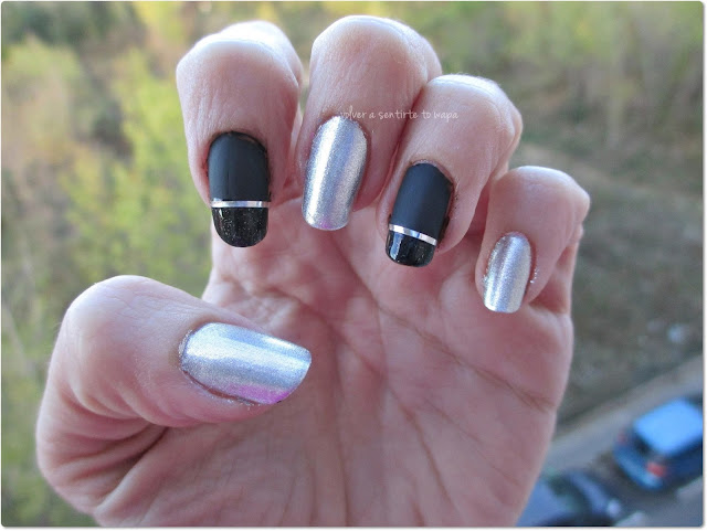 Manicura elegante en negro y plata #essie - Navidad
