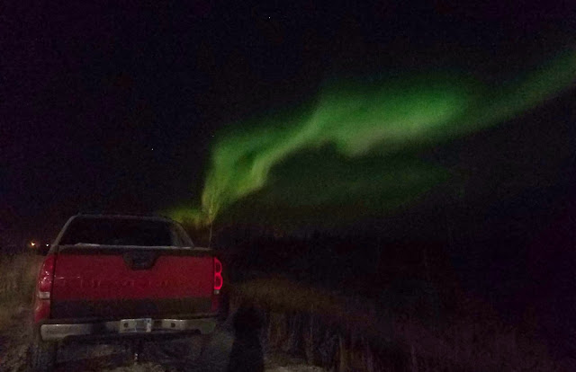 Red truck and the Aurora Borealis aka Northern Lights show