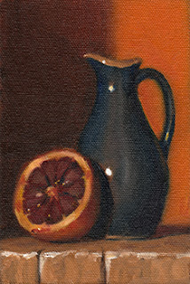 Oil painting of a blood orange cut in half beside a blue porcelain sauce jug.