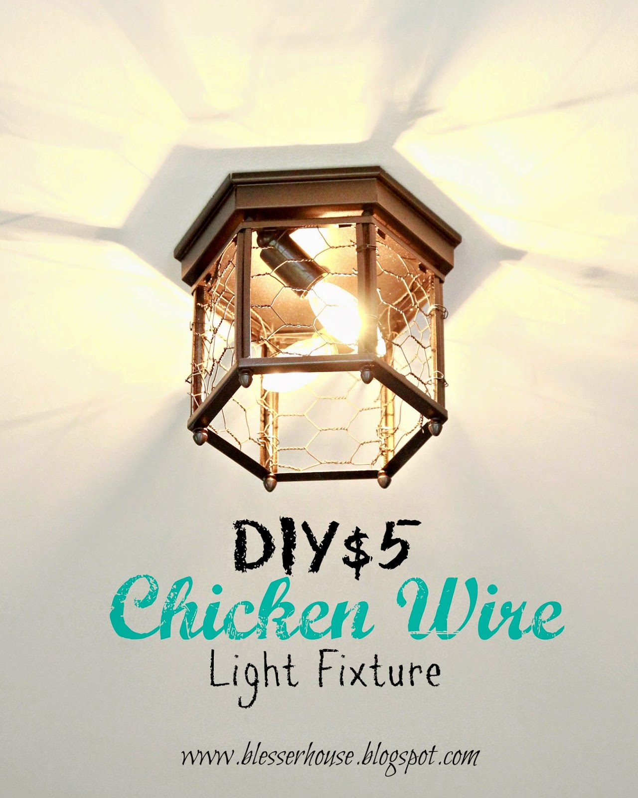 Another one bites the dust stairway lighting blesser house thrifted chicken wire light fixture arubaitofo Gallery