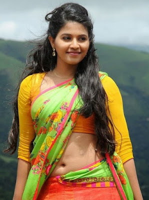 Beautiful Anjali hot tummy images in Saree