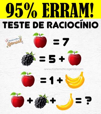 Desafio: Teste de raciocínio - Quanto vale maça mais amora mais banana?