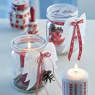 porta candele con vasetti di velo e ali di angelo