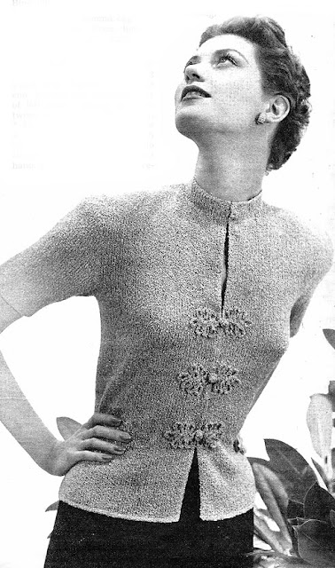 The Vintage Pattern Files - Free 1950s Womens Button Beauty Blouse Knitting Pattern