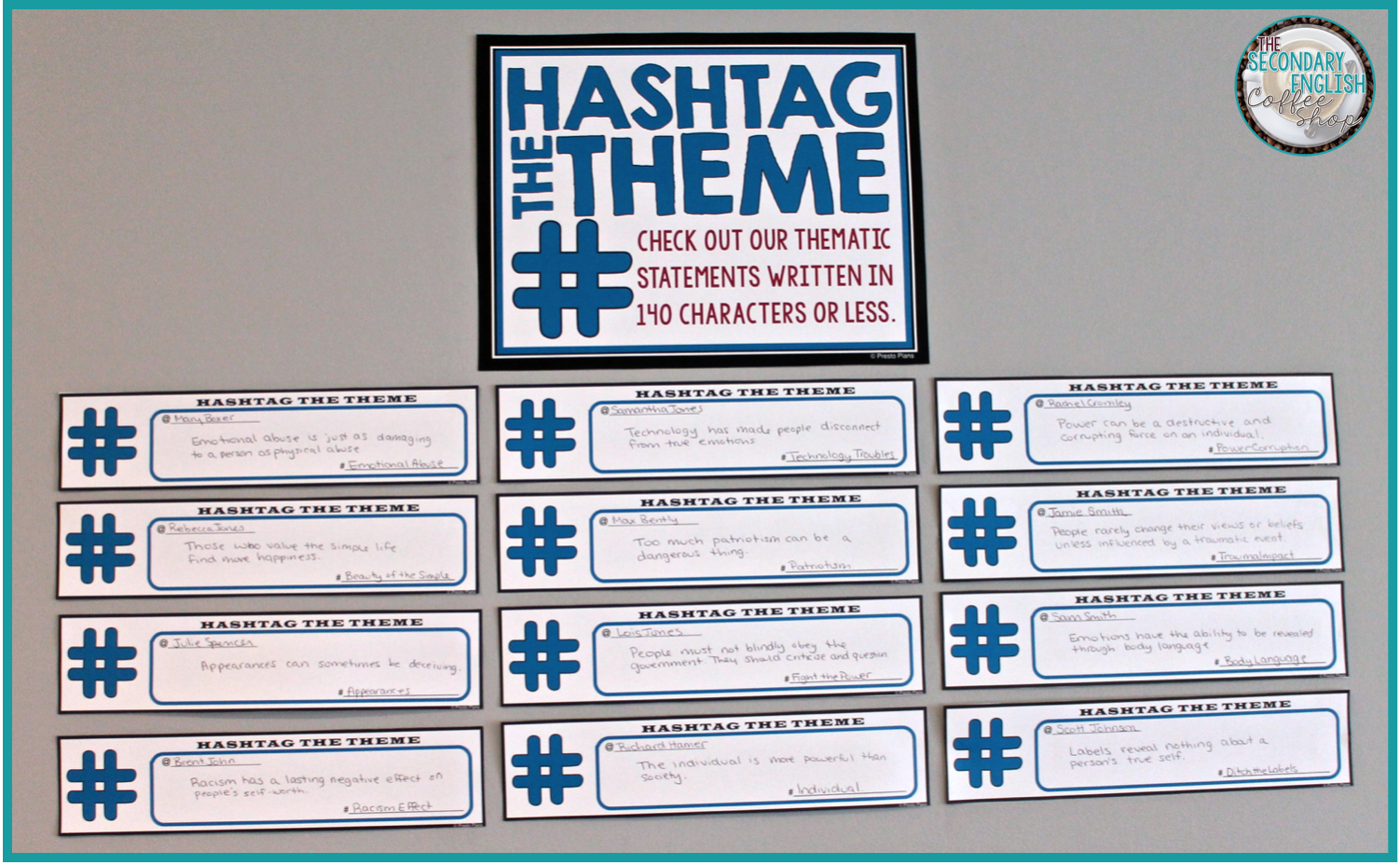 "Have students practice writing thematic statements with this FREE bulletin board display called ""Hashtag The Theme"""