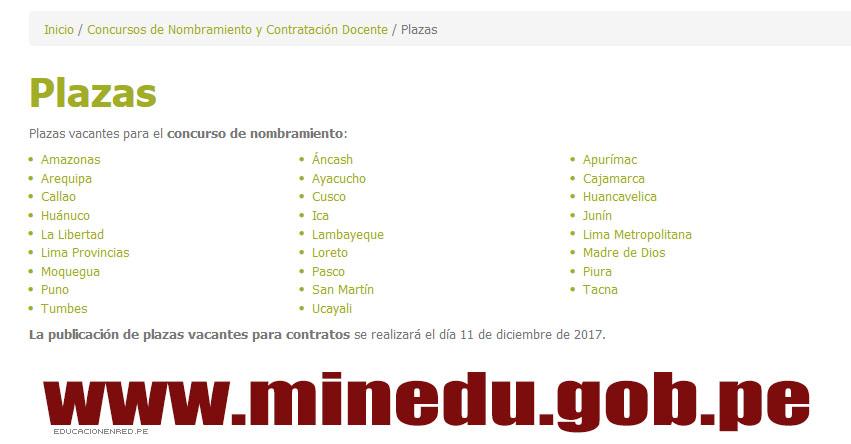 MINEDU: Relación Final de Plazas para Nombramiento Docente 2017 (18 Julio) www.minedu.gob.pe