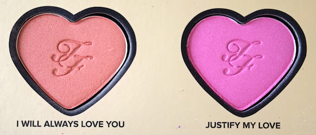 a picture of Too Faced Blush in I Will Always Love You (gilded peach) Justify My Love (bright pink with fine gold sparkle)