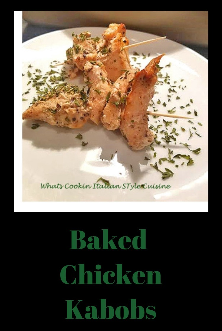 These are a skewer of baked herb crusted chicken into a kabob easy to make when the weather isn't cooperating for the Labor Day or other out door picnic Holiday