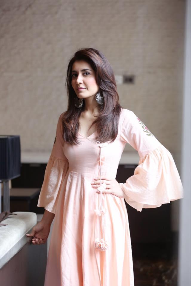 Tollywood Actress Rashi Khanna In Pink Dress At Telugu Film Promotion ❤