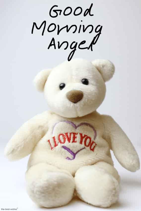 good morning angel with teddy bear